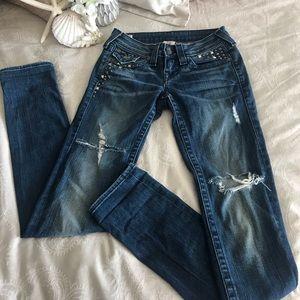 True Religion Julie Studded Skinny Jean Size 25